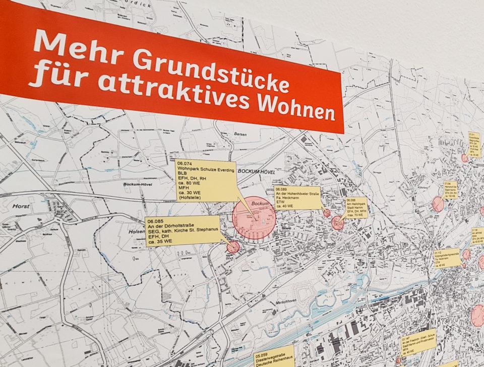 Karte von der Stadt Hamm, mit den vorgeschlangen neuen Baugebiete